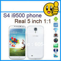 New arrival Galaxy S4 phone 1:1 Android 4.2.2 jelly bean 1GB RAM MTK6577 dual core 8mp camera I9500 phone WIFI GPS Free shipping