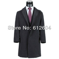 2013 Fall and winter men woolen coats black turn collar hidden button clothes snow outwear wool coats for businessmen plus size