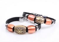 European Trendy Anchor Rudder Leather Bracelet Handmade Lovers Jewelry 2 pieces/set  Free shipping HeHuanSLQ220