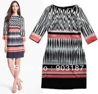 Runway Fashion Wholesale & Retail 2013 new simple fashion printing long-sleeved Slim Dress KC191  Free shipping