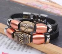 Valentine Gift Imitation Antique Bronze Alloy Bead Leather Bracelet  2 pieces/set  Free shipping HeHuanSLQ219