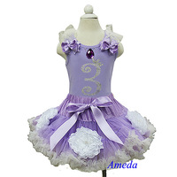 Lavender Cream Flower Pettiskirt Sofia Princess Lavender Tank Top 3rd Birthday Party Dress 1-8Y