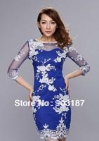 Runway Fashion Wholesale & Retail Sexy lace halter dress    thin translucent crochet mature feminine dress KC194 Free shipping