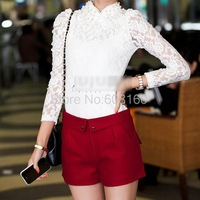 Autumn Winter New 2013 Korean Silm Heart-shaped buttons Over Hip Slim Fit Woolen Shorts Women Solid Red Black Navy Blue