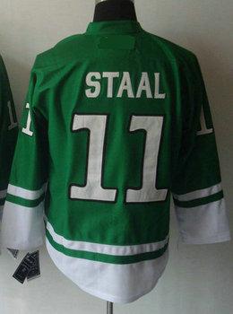Cheap Men's Hockey Jersey #11 Jordan Staal Green/White/Blue/Black Jersey