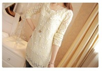 New Arrival Lace jumper with beading long sleeves o-neck