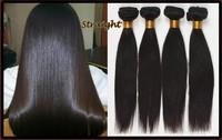 "Unprocessed 100% Virgin Indian Remy Human Weft hair extension 1B AAAAA 14""16""18""20""22""24""26""28""30""32"" straight"
