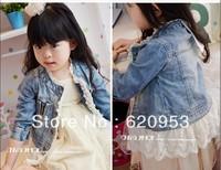 Retail new Girls fashion lace long-sleeved jacket denim jacket girls coat children outerwear free shipping