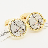 Steampunk Gold Round and White Movement Watch Cufflinks with Yellow Crystal KL0985