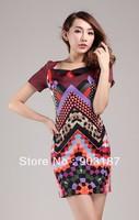 Runway Fashion Wholesale & Retail Temperament elegant simplicity printing stitching Slim dress KC199  Free shipping