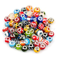 wholesale 50pcs lampwork glass beads 13*10mm large hole mixed designs Beads Fit  pandora Bracelets jewelry making Free Shipping