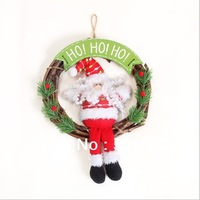Christmas decorations rattan Christmas Snowman Santa Claus Christmas Wreath hanging cloth door,trumpet, free delivery