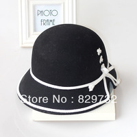 Free shipping 2013 new autumn and winter hats for women bow small fedoras fashion vintage bucket caps