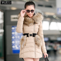 Large fur collar with a hood cotton-padded   winter new arrival women's medium-long wadded  with belt  jacket outerwear