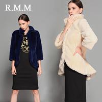 Rmm full leather rex rabbit hair fur coat medium-long slim stand collar turn-down collar fashion dovetail