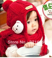 Two colors South Korean style fall and winter warm knitting wool children lovely shawl cap H012