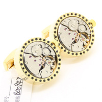 Steampunk Rotating movement Gold Round and Silver Dot Men's Functional Mechanical Cufflinks KL0967