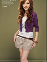 2013 New Stylish Pure Color Button Short Knitted Cardigan Purple Black White Rose Red O11120708