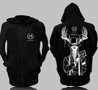 Ghost trolling Street Trot sweater black hats hip-hop shuffle European style music Rock Hoodie Jacket