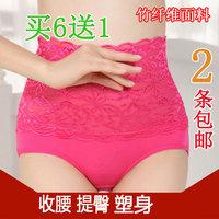 Panties female bamboo fibre lace drawing butt-lifting abdomen body shaping trigonometric panties women's high waist panties 2