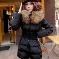 free shipping Luxury winter women's slim thickening vlsivery large raccoon fur medium-long down coat
