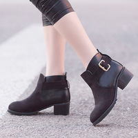 Free Shipping 2013 Fashion winter pointed toe boots personalized casual all-match brief buckle low-heeled flock female shoes