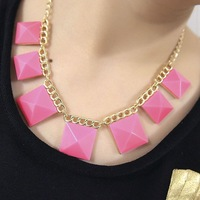 Women fashion candy 3D geometry acrylic gem short neon statement chokers necklace
