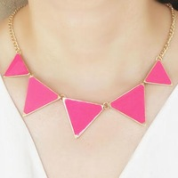 Women fashion exaggerated neon triangle statement necklace