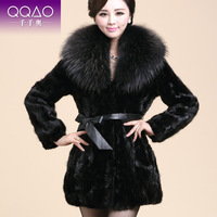 2013 Winter Faux Fight Mink Fur Coat Outerwear Medium-long Mink Women's Overcoat Large Raccoon Fur Collar Luxury Fur Coat Jacke