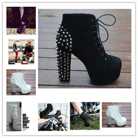 Free shipping fashion hotest lace up big size 35-40 rivet boots women shoes QFX027
