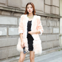 2013 fur coat berber fleece color block decoration beach wool skirt of disassembly dual-use fur overcoat