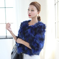 The new limited edition of high quality 2013 fur coat raccoon fur wool o-neck short design women's female