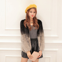 The new limited edition of high quality Fur 2013 gradient color mink knitted Women fight mink fur coat mink