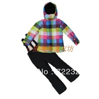 Free shipping child outdoor thickening windproof fleece lining parent-child ski suit set cotton-padded jacket trousers