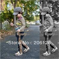Children's clothing male child jeans male patchwork color block elastic jeans denim trousers