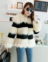 South Korean Autumn Winters Color Matching Color Faux Fur Coat PC56 Cream