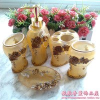 Quality resin five pieces stenciling bathroom sets oval shape yellow bathroom set bathroom kit wedding supplies