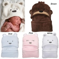 Retail Coral Fleece newborn baby bear modelling blanket product,infant hooded bath towel sleeping bags,boy/girls travel product