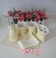 Resin bathroom set of five pieces light yellow bathroom set bathroom kit wedding supplies