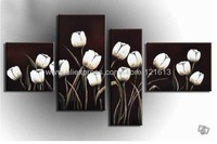 Oil Painting Hand Painted Free Shipping Oil Wall Art Pure White Tulip Home Decoration Abstract Landscape Oil On Canvas
