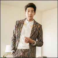 2013 male baroque vintage quality tweed suit jacket fashion men suit