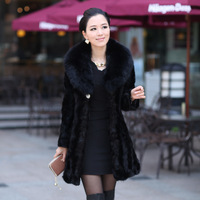 TOP Grade Quality 2013 Fashion luxury women's Genuine Mink Fur Coat For Winter Fox collars Fur Hooded  Overcoat Outerwear