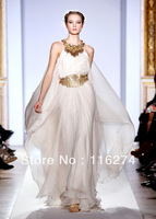 2013 Zuhair Murad Halter Gold Sequins Pleat Celebrity Gowns Chiffon Beach Custom Made Formal Long Dresses Evening Prom