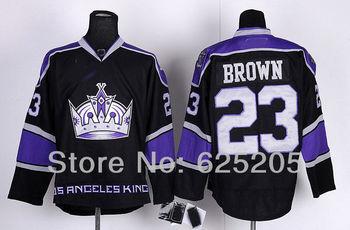Free Shipping Los Angeles Kings Hockey Jerseys #23 Dustin Brown Black Third authentic LA Kings Ice hockey Jersey Size 48-56
