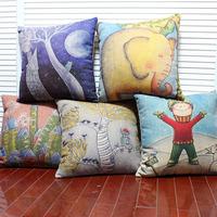 "Free shipping high quality linen invisible zipper creative cartoon cushion cover/pillow cover sofa ""boy/elephant/moon""45*45cm"