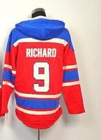 Wholesale Montreal #9 Maurice Richard hoody men's Ice Hockey Jersey Embroidery logos size 48-56