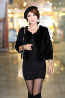 Women's Rabbit Fur Thickening Real Fur Short Coat Jacket PC09 Black
