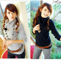 2012 women's large lapel tub collar heap turtleneck sweater female basic shirt sweater