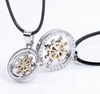 New Arrive Rotatable Compass Pendant  Lovers Couples Charm Necklace 2 pieces/set  Free shipping HeHuanXLQ006