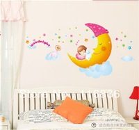 Free shipping new products  2013 decorative good night sweet dream moon girl  wall stickers Decal home decoration vinyl sticker